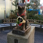 The statue of Hachiko outside of Shibuya station. This is the dog who dutifully waited for his master for years at the train station.