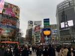 View from the ground at the famous Shibuya crossing.