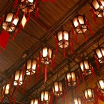Lights with written prayers in Man Mo Temple