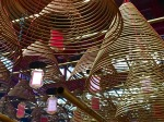 These spirals are actually slow-burning rings of incense in Man Mo Temple