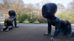 David Cerny babies outside Kampa Museum